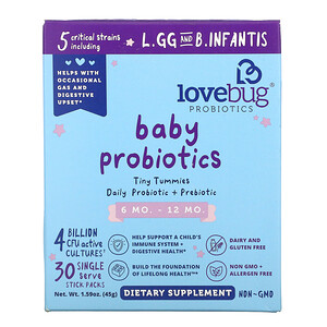 LoveBug, Baby Probiotics, Tiny Tummies Daily Probiotic + Prebiotic, 6-12 Mo., 4 Billion CFU, 30 Single Stick Packs, 0.05 oz (1.5 g)