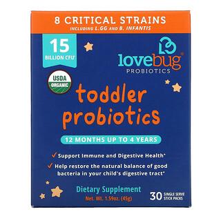 LoveBug Probiotics, Toddler Probiotics, 12 Months Up To 4 Years, 15 Billion CFU, 30 Single Serve Stick Packs