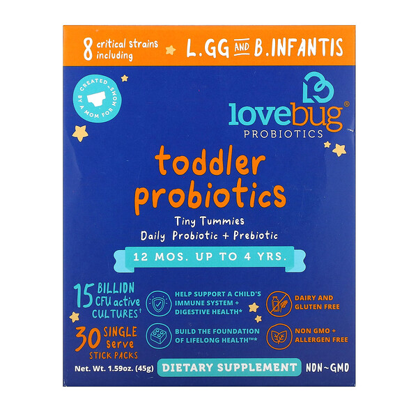 LoveBug Probiotics, Toddler Probiotics, Tiny Tummies Daily Probiotic + Prebiotic, 12 Mos. Up To 4 Yrs., 30 Single Serve Stick Packs, 1.59 oz ( 45 g)