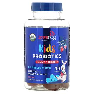 LoveBug Probiotics, Kids Probiotics, Tummy Gummies, 2.5 Billion CFU, Strawberry Flavored, 30 Gummies