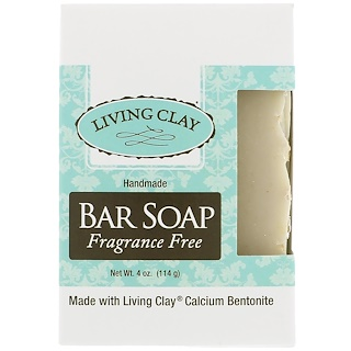 Living Clay, Handmade Bar Soap, Fragrance Free, 4 oz (114 g)