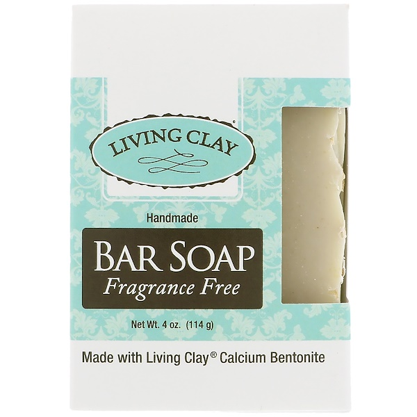 Living Clay, Handmade Bar Soap, Fragrance Free, 4 oz (114 g) (Discontinued Item)