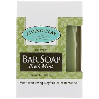 Living Clay, Handmade Bar Soap, Fresh Mint, 4 oz (114 g)