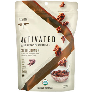Living Intentions, Activated, Superfood Cereal, Cacao Crunch, 9 oz (255 g)