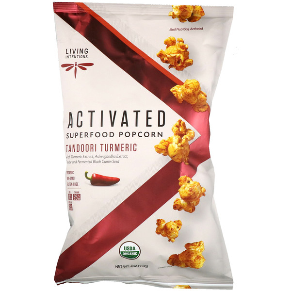 Living Intentions, Activated, Superfood Popcorn, Tandoori Turmeric, 4 oz (113 g)