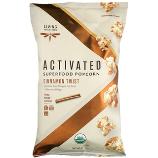 Living Intentions, Activated, Superfood Popcorn, Cinnamon Twist, 4 oz (113 g)