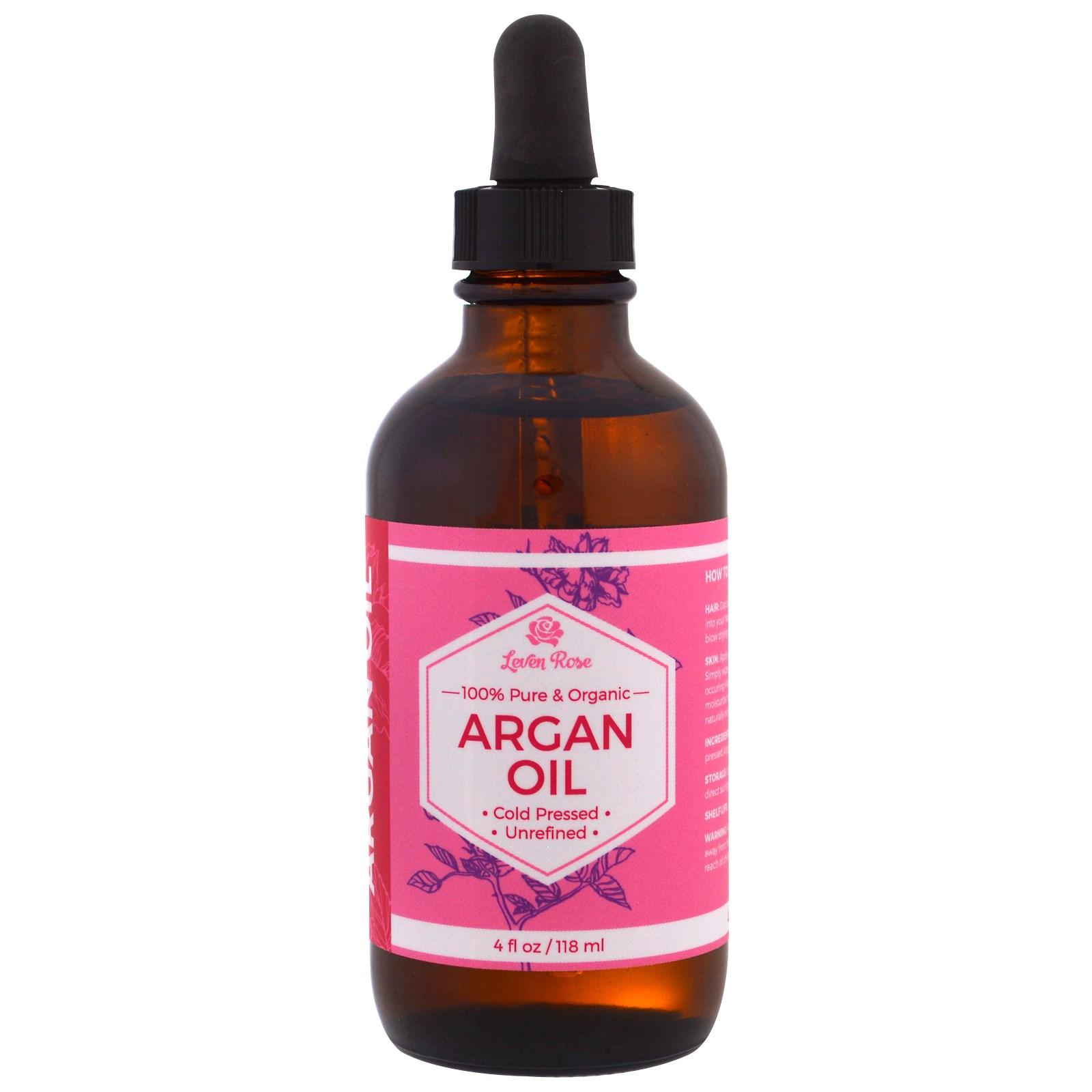 Leven Rose, 100% чистое и органическое аргановое масло, 4 унции (118 мл)