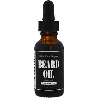 Leven Rose, 100% Pure Organic Beard Oil, Fragrance Free , 1 fl oz (30 ml)