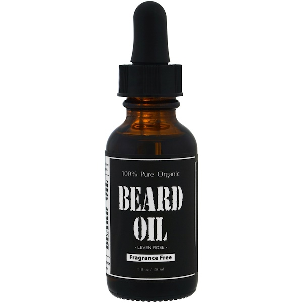 Leven Rose, 100% Pure Organic Beard Oil, Fragrance Free , 1 fl oz (30 ml) (Discontinued Item)