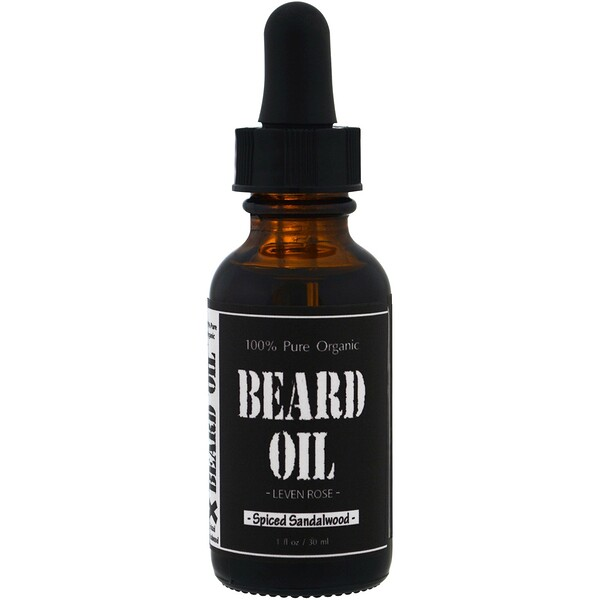 100% Pure Organic Beard Oil, Spiced Sandalwood, 1 fl oz (30 ml)