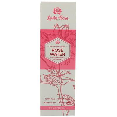 100% чистая органическая розовая вода, 4 жидких унции (118 мл)