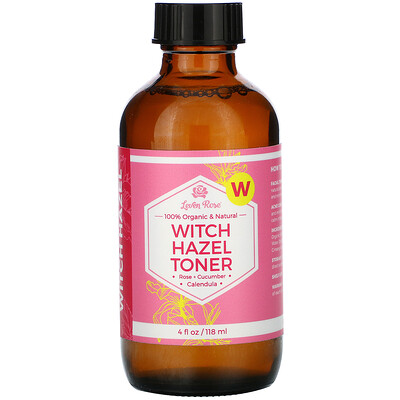 Купить Leven Rose 100% Organic & Natural, Witch Hazel Toner, 4 fl oz (118 ml)