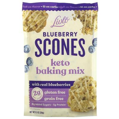 Livlo Blueberry Scones, Keto Baking Mix with Real Blueberries, 9.5 oz (269 g)