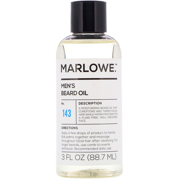 Marlowe, Men's Beard Oil, No. 143, 3 fl oz (88.7 ml)