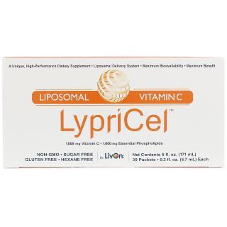 "LypriCel, ليبوسمول فيتامين ""ج""، 30 عبوة، 0.2 أونصة سائلة (5.7 مل) للواحدة"