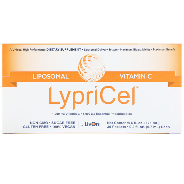 LypriCel, Liposomal Vitamin C, 30 Packets, 0.2 fl oz (5.7 ml) Each (Discontinued Item)