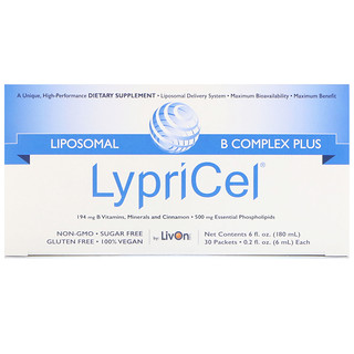 LypriCel, Liposomal B Complex Plus, 30 Packets, 0.2 fl oz (6 ml) Each