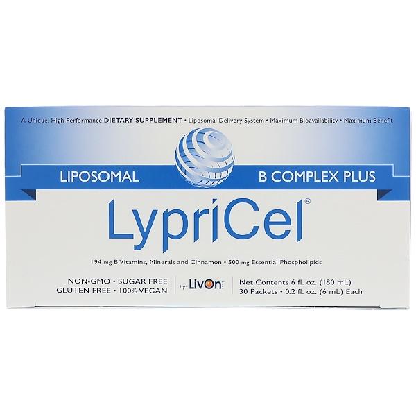 LypriCel, リポソームBコンプレックスプラス、 30包、 各0.2液量オンス (6 ml)