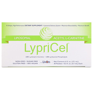 LypriCel, Liposomal, Acetyl L-Carnitine, 30 Packets, 0.2 fl oz (5.7 ml) Each