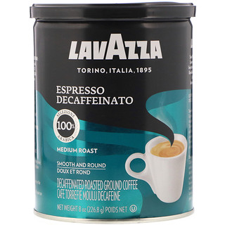 LavAzza Premium Coffees, Decaffeinated Roasted Ground Coffee, Espresso, Medium Roast, 8 oz (226.8 g)