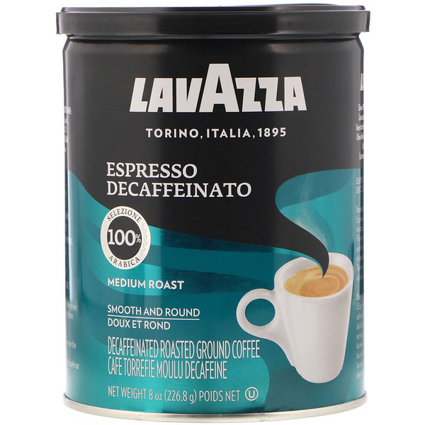 LavAzza Premium Coffees, Decaffeinated Roasted Ground Coffee, Espresso, Medium Roast, 8 oz (226.8 g) (Discontinued Item)