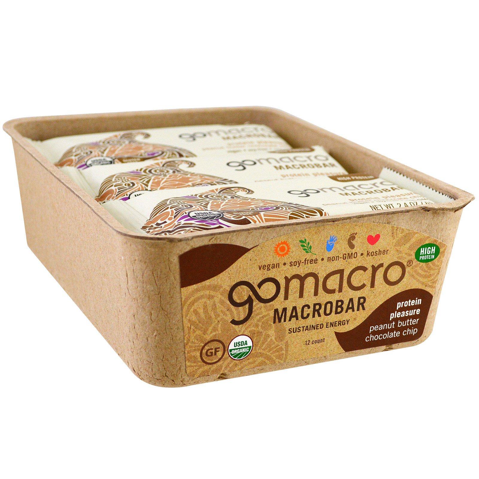 GoMacro, Макробатончик Macrobar, Белковое удовольствие, Арахисовое масло, миндальное масло, шоколадная крошка, 12 батончиков по 69 г (2.4 oz)