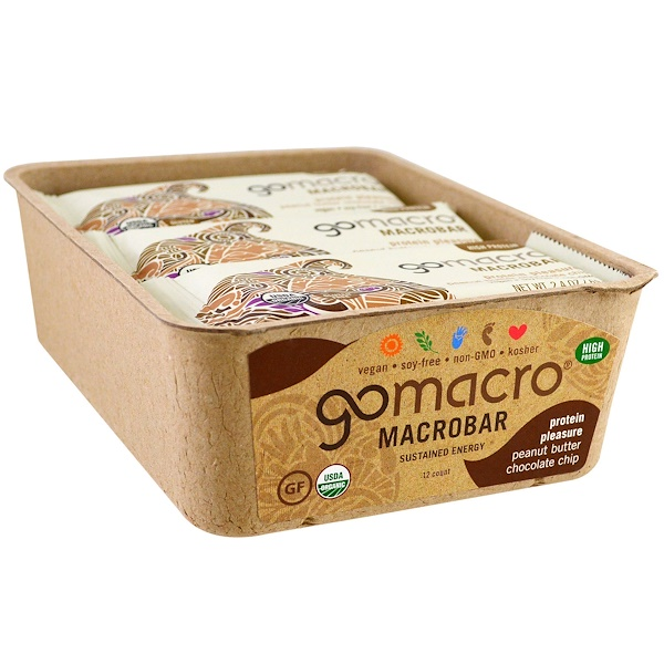 GoMacro, Macrobar, Protein Pleasure, Peanut Butter Chocolate Chip, 12 Bars, 2.4 oz (69 g) Each