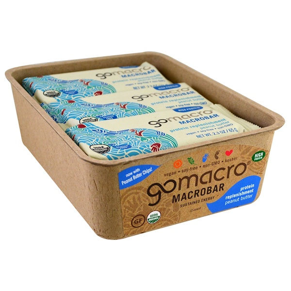 GoMacro, Macrobar, Protein Replenishment, Peanut Butter, 12 Bars, 2.3 oz (65 g) (Discontinued Item)
