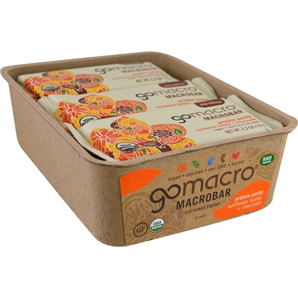 GoMacro, Macrobar, Protein Purity, Sunflower Butter + Chocolate, 12 Bars, 2.3 oz (65 g) Each (Discontinued Item)