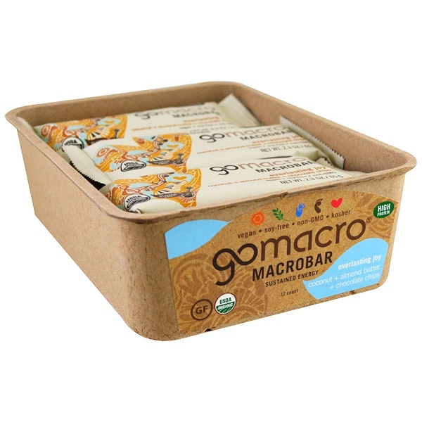 GoMacro, Macrobar, Everlasting Joy, Coconut + Almond Butter + Chocolate Chips, 12 Bars, 2.3 oz (65 g) Each