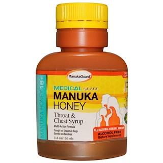 Manuka Guard, マヌカハニー 16+、 のど & 胸シロップ、 アルコールフリー、 3.4 オンス (100 ml)