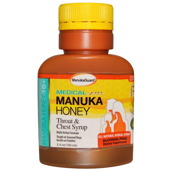 ManukaGuard, Manuka Honey 16+, Throat & Chest Syrup, Alcohol Free, 3.4 oz (100 ml) (Discontinued Item)