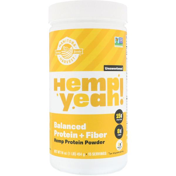 Manitoba Harvest, Organic Hemp Yeah! Protein Powder, Balanced Protein + Fiber, Unsweetened, 16 oz (454 g) (Discontinued Item)