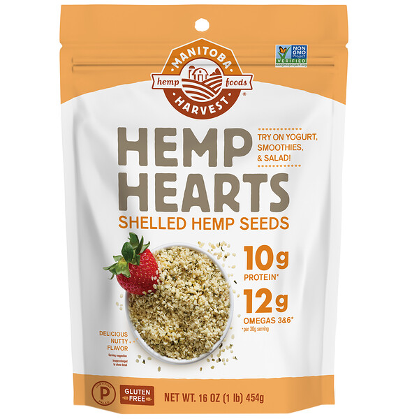 Manitoba Harvest, Hemp Hearts, Shelled Hemp Seeds, Delicious Nutty Flavor, 16 oz (454 g)