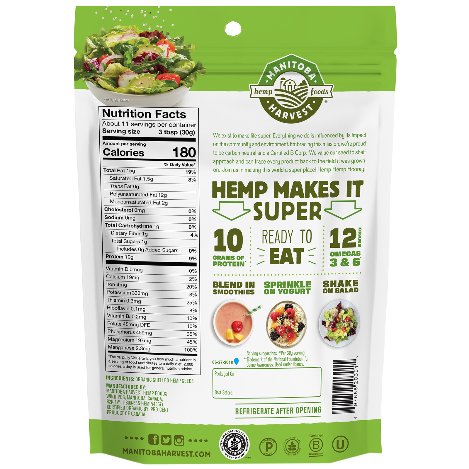 Manitoba Harvest Hemp Hearts Organic Shelled Hemp Seeds Delicious Nutty Flavor 12 Oz 340 G Iherb