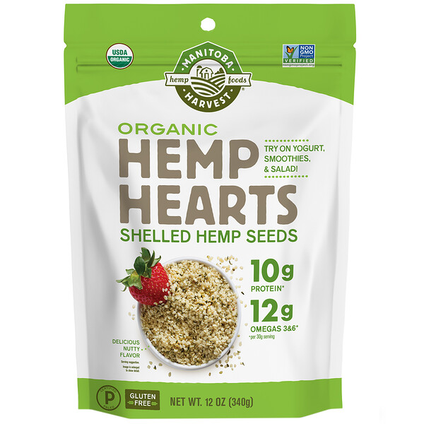 Manitoba Harvest, Hemp Hearts, Organic Shelled Hemp Seeds, Delicioso Sabor de Nozes, 340 g (12 oz)