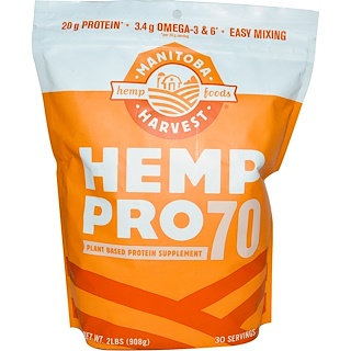 Manitoba Harvest, Hemp Pro70, Plant Based Protein Supplement, 2 lbs (908 g)