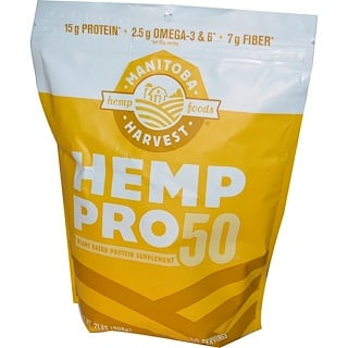 Manitoba Harvest, Hemp Pro 50, Plant Based Protein Supplement, 2 lbs (908 g)