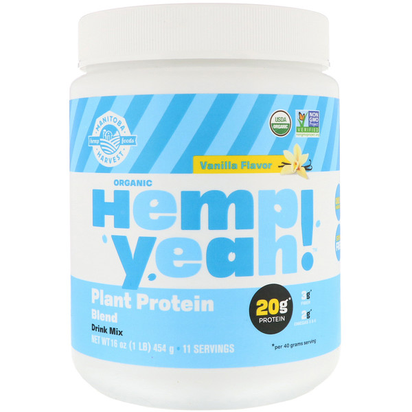 Manitoba Harvest, Organic Hemp Yeah!, Plant Protein Blend, Vanilla Flavor, 16 oz (454 g)