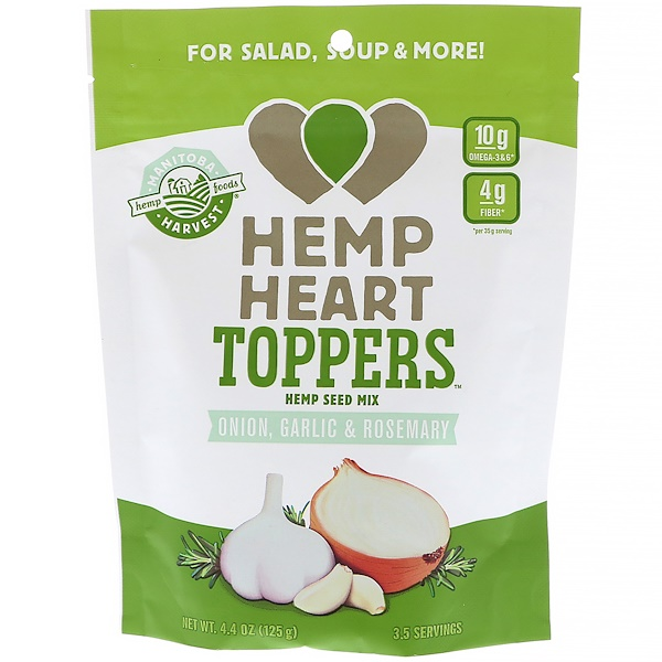 Manitoba Harvest, Hemp Heart Toppers, Hemp Seed Mix, Onion, Garlic & Rosemary, 4.4 oz (125 g) (Discontinued Item)