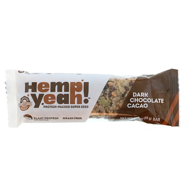 Manitoba Harvest, Hemp Yeah!, Protein-Packed Super Seed Bar, Dark Chocolate Cacao, 1.59 oz (45 g)