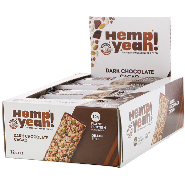 Hemp Yeah!, Protein-Packed Super Seed Bar, Dark Chocolate Cacao, 12 bars, 1.59 oz (45 g) Each