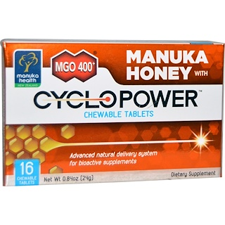 Manuka Health, MGO 400+, Manuka Honey with CycloPower, 16 Chewable Tablets