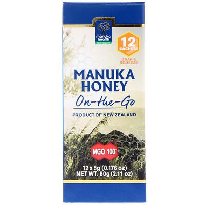 Купить Manuka Health Manuka Honey On-The-Go, MGO 100+, 12 Packets, 0.176 oz (5 g) Each