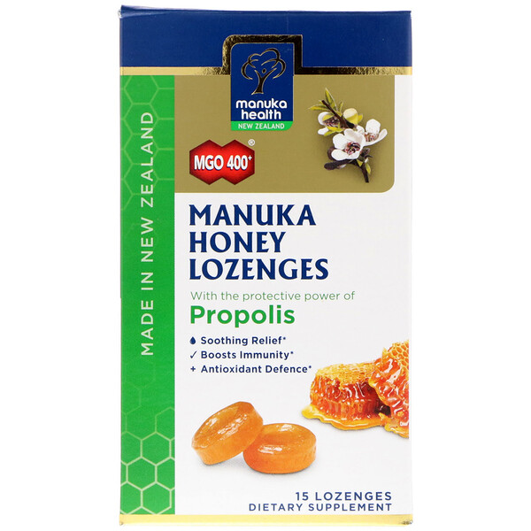 Manuka Honey Lozenges, Propolis, MGO 400+, 15 Lozenges