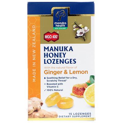 Купить Manuka Health Manuka Honey Lozenges, MGO 400+, Ginger & Lemon, 15 Lozenges