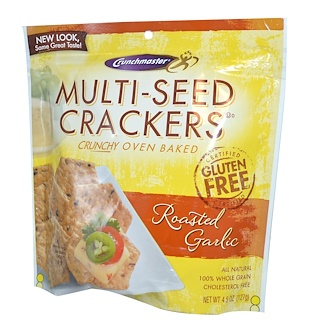 Crunchmaster, Multi-Seed Crackers, Roasted Garlic, 4.5 oz (127 g)