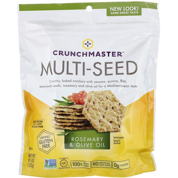 Crunchmaster, Мультизерновые крекеры, с розмарином и оливковым маслом, 4.5 унции (127 г)