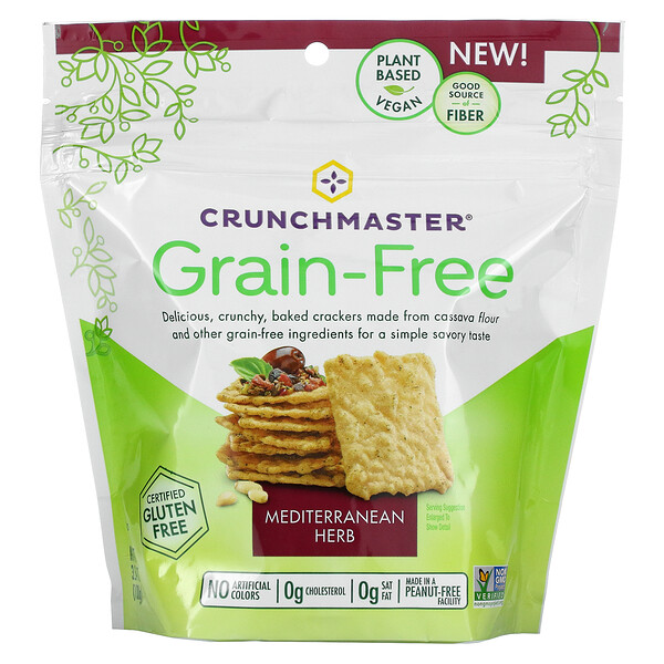 Grain Free Crackers, Mediterranean Herb, 3.54 oz (100 g)
