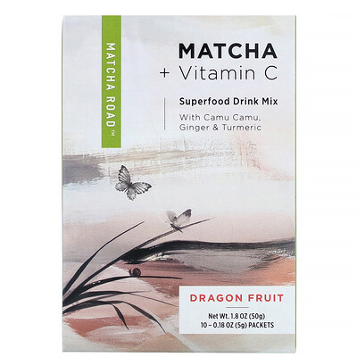 Matcha Road матча с витаминомС, смесь для приготовления напитка, питайя, 10пакетиков по 5г (0,18унции)